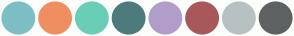 Color Scheme with #7EBEC5 #EF8F61 #6ACEB6 #4D7B7D #B19DC9 #A85858 #B8C1C2 #5E6161