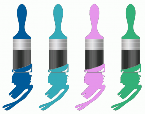 Color Scheme with #005B9A #35ABB8 #E696EB #33B078