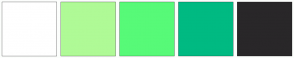 Color Scheme with #FFFFFF #AFFA96 #57FA78 #00BA82 #292729