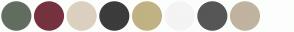 Color Scheme with #626E60 #76323F #DCD0C0 #3C3C3C #C0B283 #F4F4F4 #565656 #C0B3A0 #FDFDFD