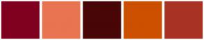 Color Scheme with #800020 #E97451 #480607 #CC5000 #A83324