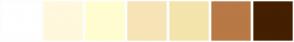 Color Scheme with #FFFFFF #FFF8DC #FFFDD0 #F7E4B7 #F3E5AB #B87946 #451F00