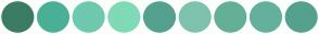 Color Scheme with #3B7D64 #4AB096 #6FC9AE #7FDBB6 #55A18F #7EC2AD #64B096 #64B09D #55A18E