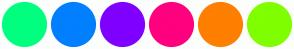Color Scheme with #00FF7F #007FFF #7F00FF #FF007F #FF7F00 #7FFF00