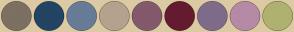 Color Scheme with #7C7062 #234463 #677C97 #B4A28F #84596B #641B30 #7F6C8A #B58AA5 #AFB170