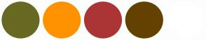 Color Scheme with #686922 #FF9200 #AB3535 #634201 #FFFFFF
