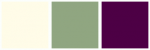Color Scheme with #FFFCE8 #90A681 #4D0045