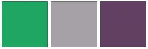 Color Scheme with #1FA663 #A6A1A6 #624063