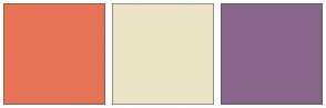 Color Scheme with #E67457 #EDE4C7 #88658A