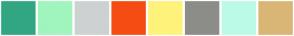Color Scheme with #32A683 #9FF5BD #CDD1D1 #F54C14 #FFF27A #8C8C89 #BBFAE7 #D9B675