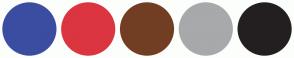 Color Scheme with #3B4DA1 #DB3540 #723E23 #A7A9AB #231F20