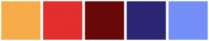 Color Scheme with #F6AC49 #E32E2E #690808 #2B2674 #748FF7