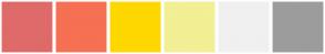 Color Scheme with #DF6A6A #F67054 #FFD700 #F2EF94 #F0F0F0 #9C9C9C