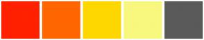 Color Scheme with #FF2100 #FF6600 #FFD700 #F8F87E #5A5A5A