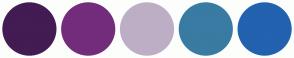 Color Scheme with #421C52 #732C7B #BDAEC6 #397BA2 #2262AF