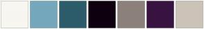 Color Scheme with #F7F6F0 #75A7BD #2D5C6B #0F000F #8C817B #391340 #CCC3B8