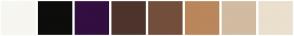 Color Scheme with #F7F6F0 #0D0D0C #330E40 #4D342C #734E3B #BA865B #D1BBA1 #EBDFCE