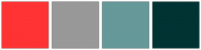 Color Scheme with #FF3333 #999999 #669999 #003333
