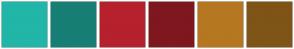 Color Scheme with #21B6A8 #177F75 #B6212D #7F171F #B67721 #7F5417