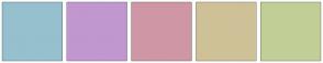 Color Scheme with #96C0CE #C197CF #CF97A5 #CFC197 #C1CF97