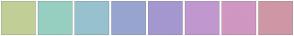 Color Scheme with #C1CF97 #97CFC1 #97C1CF #97A5CF #A597CF #C197CF #CF97C1 #CF97A5