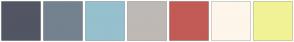 Color Scheme with #525564 #74828F #96C0CE #BEB9B5 #C25B56 #FEF6EB #F2F296