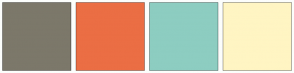 Color Scheme with #7C786A #EB6E44 #8DCDC1 #FFF5C3