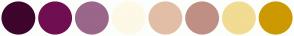 Color Scheme with #3E052D #6F0F52 #9A668A #FEF8E7 #E2BEA7 #C08F83 #F2DB92 #CC9900
