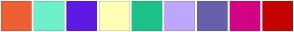 Color Scheme with #ED5F34 #6EF0C9 #5E19E3 #FEFFB5 #1DC288 #BCA7FC #6561AB #D30284 #C50301