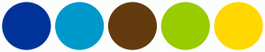 Color Scheme with #003399 #0099CC #643B0F #99CC00 #FFD800