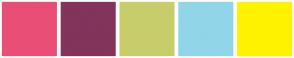 Color Scheme with #E94E77 #82345B #C8CD6B #91D5E8 #FFF200