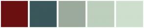 Color Scheme with #6A1010 #3A575A #9CAA9C #BDCFBD #CEDFCE