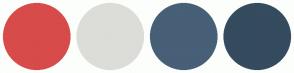 Color Scheme with #D74B4B #DCDDD8 #475F77 #354B5E