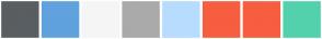 Color Scheme with #595E62 #5FA2DD #F5F5F5 #AAAAAA #B7DCFE #F75D3F #F75D3F #53D1AD