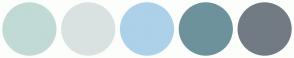 Color Scheme with #C1DAD6 #D9E2E1 #ACD1E9 #6D929B #727B84