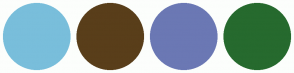 Color Scheme with #79BEDB #593E1A #6B78B4 #266A2E