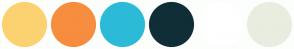 Color Scheme with #FCD271 #F78D3F #2BBBD8 #102E37 #FFFFFF #E8EDE0