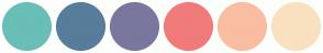 Color Scheme with #69BEB8 #577D9A #79779D #F07B7A #F9BDA2 #F9E1C0