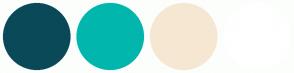 Color Scheme with #0A4958 #01B6AD #F6E7D2 #FFFFFF