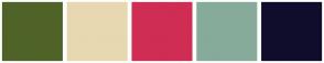 Color Scheme with #4F6328 #E7D8B1 #CF2D54 #86AB9A #100D2C