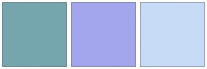 Color Scheme with #76A6AD #A4A6ED #C7DBF7