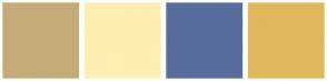Color Scheme with #C4AC78 #FFEFB2 #586D9B #E1B85E