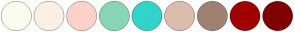 Color Scheme with #FCFCEE #FAF0E6 #FBD2C9 #87D6B9 #30D5C8 #DABDAB #9F8170 #A10000 #800000