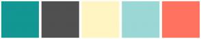 Color Scheme with #129793 #505050 #FFF5C3 #9BD7D5 #FF7260