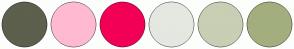 Color Scheme with #5C604D #FFBAD2 #F20056 #E5E7E1 #C8CFB4 #A3AE7E