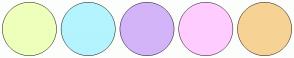 Color Scheme with #EEFFBB #B3F4FF #D3B4F8 #FFCCFF #F6D394