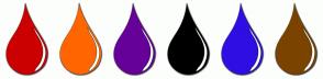Color Scheme with #CC0000 #FF6600 #660099 #000000 #2E0EE3 #7A4300