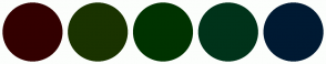 Color Scheme with #330000 #1A3300 #003300 #00331A #001A33