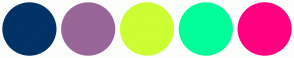 Color Scheme with #003366 #996699 #CCFF33 #00FF99 #FF0080