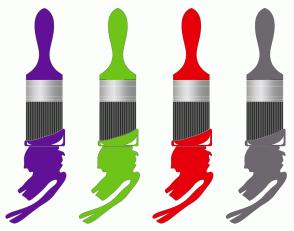 Color Scheme with #611196 #6FC41A #E6000B #6D676E